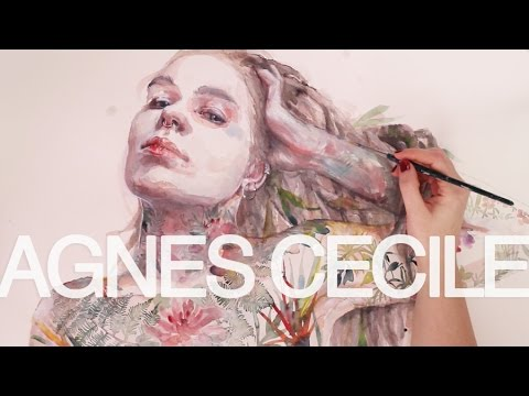 watercolor portrait – leaves on skin