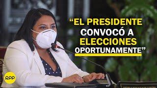 """Ministra de Justicia: """"El presidente convocó a elecciones oportunamente"""""""