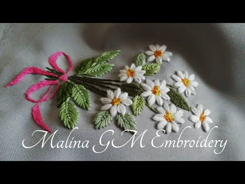 Hand Embroidery    Small Bouquet of Daisies    Very Easy Stitches