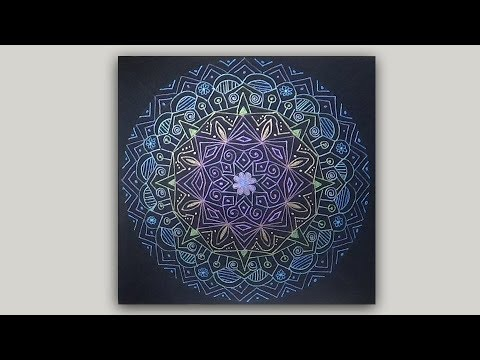 Glittery Rainbow Mandala Drawing with Glitter Gel Pens