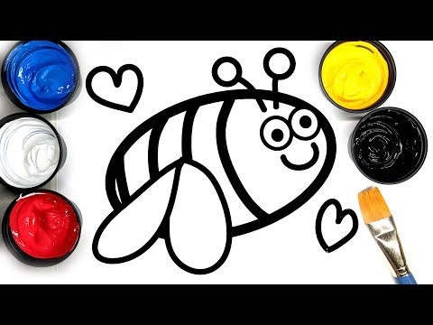 Painting Cute Bumble Bee Painting Pages for Baby, Coloring Bee with Paint, Learn to Color with Paint