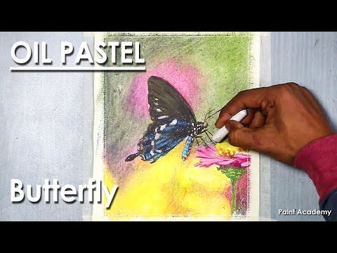 Oil Pastel Butterfly Scenery Drawing