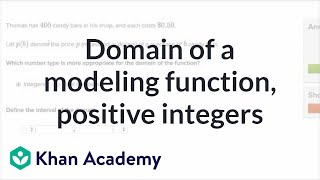 Domain of function modeling candy bars