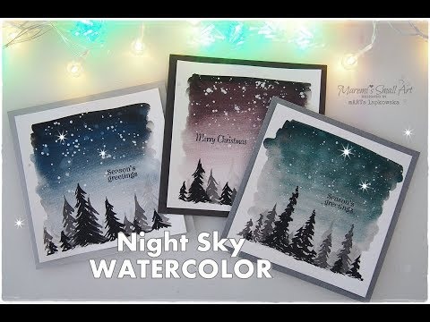 Night Sky Watercolor Winter Christmas Cards for Beginners ♡ Maremi's Small Art ♡