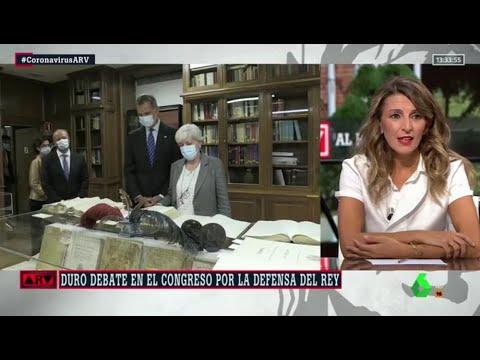 """Yolanda Díaz: """"Felipe VI creo que, al igual que yo, debe respetar a la instituciones"""" - Al Rojo Vivo"""
