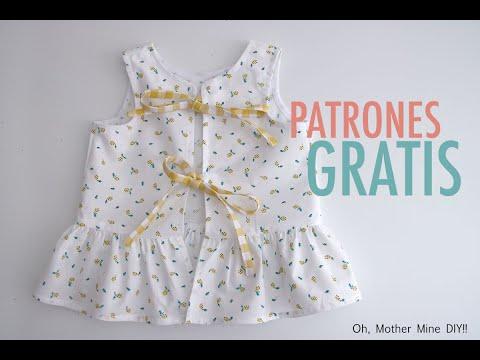 PATRONES GRATIS: Blusa con volante y abierta a la espalda para niñas