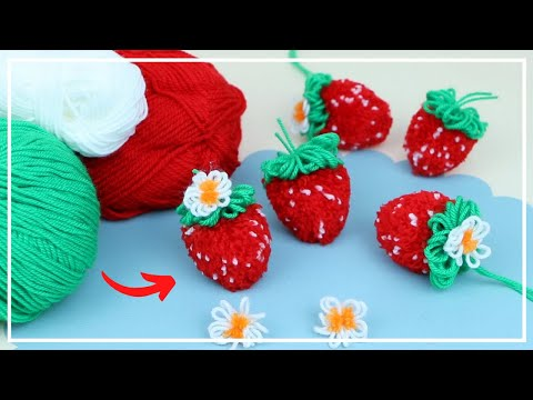 Без клея и вязания — ЛЕГКО! 🧶🍓 Ягоды Клубники из Пряжи 🍓🧶Strawberry Pompom Easy Making — NataliDoma
