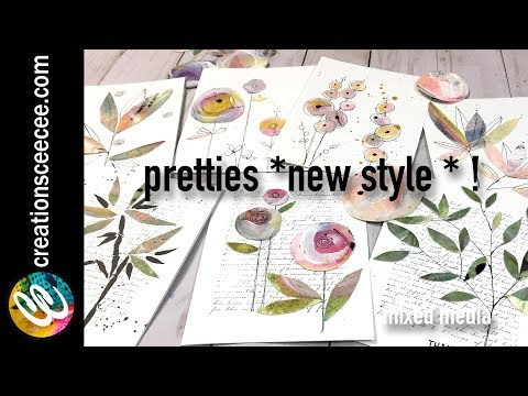 recycling watercolor paintings *** more pretties, new style *