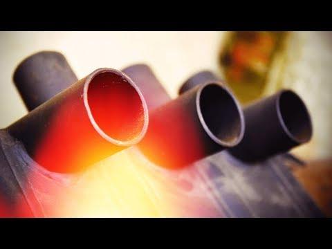 Отопление гаража.Супер печь из труб 85 % КПД. Дымоход своими руками photo