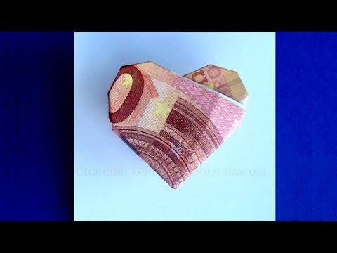 Geldscheine Falten Herz Origami Geldgeschenk Zur Hochzeit Tomclip