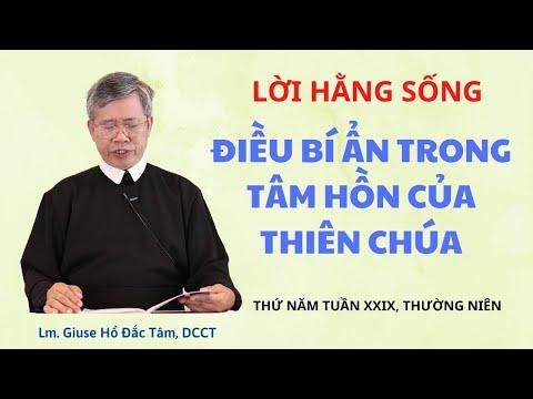 LHS Thứ Năm Tuần XXIX TN: ĐIỀU BÍ ẨN TRONG TÂM HỒN CỦA THIÊN CHÚA - Lm Giuse Hồ Đắc Tâm, DCCT