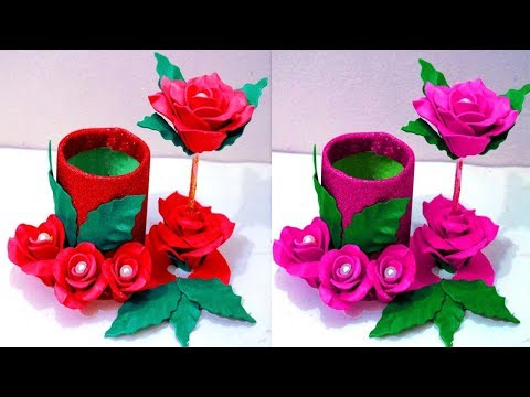 How to make flower vase at home - Plastic bottle flower vase - Make flower vase at home