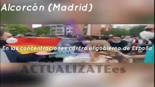 Grupos de Extrema Izquierda creando altercados en las caceroladas contra el Gobierno de España.