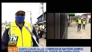Desinfección de calles y comercios en San Pedro Ayampuc