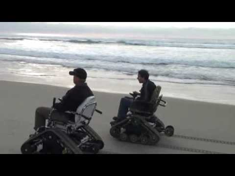 Action Trackchair goes in the sand.
