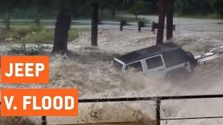 Jeep Swept Away By Flash Flood   Sunken Jeep