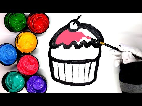 Learn Colors and How to draw a Cupcake with Paint, painting butterfly and House coloring pages