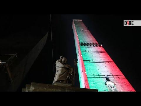 Bologna - La torre degli Asinelli a tinte rossoblu (27.11.20)
