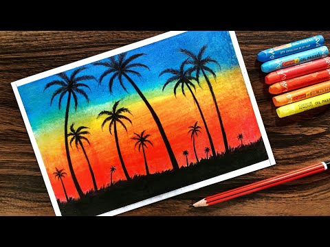 How To Draw Scenery Of Moonlight With Oil Pastel Step By Step Tomclip