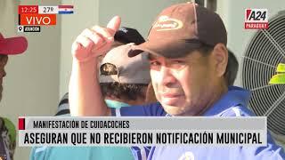 Manifestación: Cuidacoches en Asunción y conductores de Muv y Uber en San Lorenzo