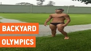 Guy Goes Swimming in a Puddle | Backyard Olympics