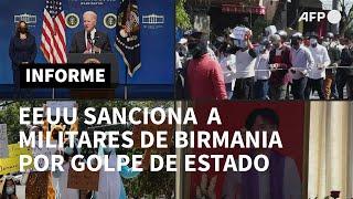 Biden anuncia sanciones contra militares de Birmania donde siguen las protestas | AFP