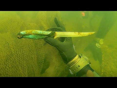 connectYoutube - Found Knife Underwater in River While Scuba Diving for Interesting Finds! (Spotted Huge Fish)