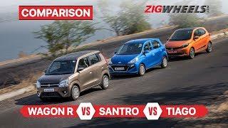 मारुति सुजुकी wagonr वीएस हुंडई सैंट्रो वीएस टाटा टियागो | कॉम्पैक्ट हैच comparison | zigwheels.com
