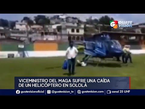 Viceministro del Maga se cae al bajar de helicóptero durante gira de trabajo de Sololá