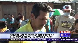 Pobladores de la colonia Mery de Flores protestan por falta de comida en la capital