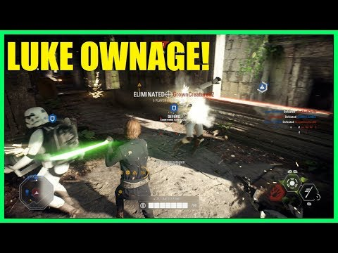 Star Wars Battlefront 2 - Quick Luke Skywalker ownage! He's strong in the force!