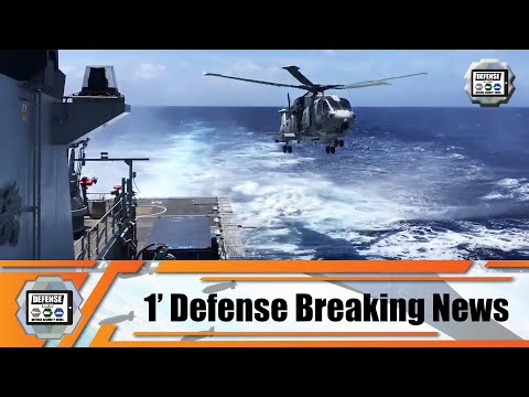 Royal Navy Merlin HC.4 helicopter lands on River Batch 2 OPV for the first time