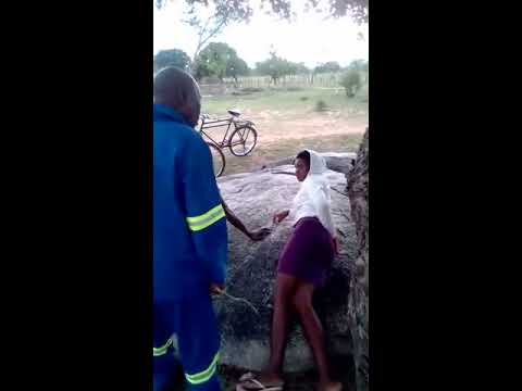 Zimbabwe Traditional Chief Caught On Camera Flogging 2 Teenage Lovers In Public As Punishment