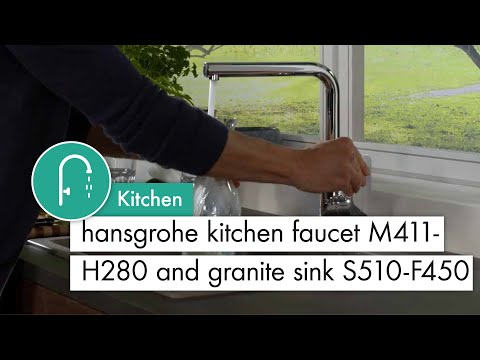 hansgrohe Kitchen mixer M411 H280 and granite Sink S510 F450 concrete grey