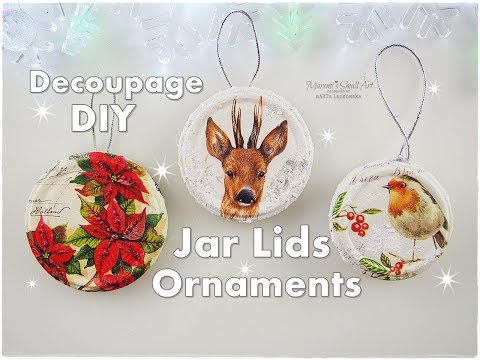 DIY Jar Lids Decoupage Christmas Ornaments ♡ Maremi's Small Art ♡