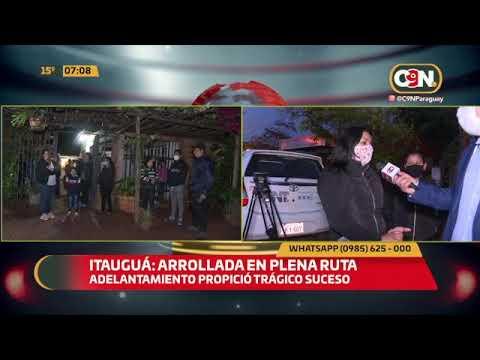 Itauguá: Mujer de 57 años fue arrollada en plena ruta