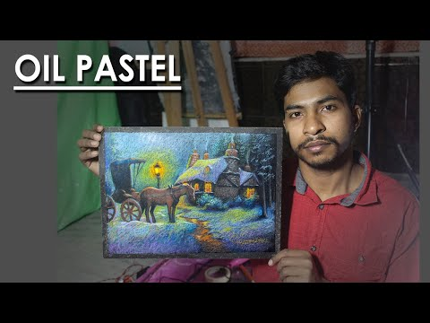 Winter Night- A Oil Pastel Composition | step by step long video | Artist : Supriyo
