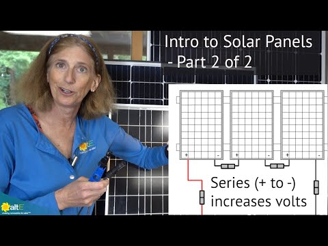 Continuing with our Solar Power for DIY series, in part 2 of 2 on solar panel basics, we discuss the Standard Test Conditions ratings of panels, the cables, wiring in series vs. parallel, and the difference in appearance of mono vs poly crystalline solar p