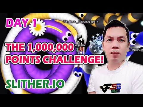 Slither.io The 1,000,000 Points Challenge! Day 1