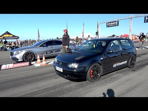 750HP VW Golf 4 1.8 Turbo vs 900HP Mercedes-Benz CLS63 S AMG