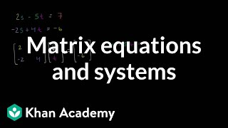 Matrix equations and systems