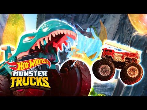 @Hot Wheels    ESCAPE FROM THE MEGA WREX DINO! 🦖   Monster Trucks Island