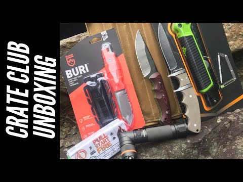 Crate Club Unboxing: 3 Knives, Survival Food, Saw, Bushcraft Grill, 🔥 Fire Starter 🔥 + More
