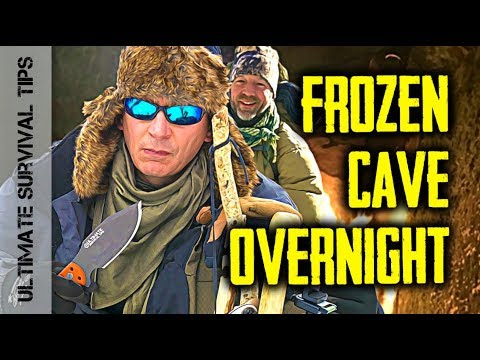 """Dual Survival"" WINTER Overnight - Bushcraft CAVE Camp + Survival Kit / Gear Review"