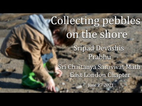 Collecting pebbles on the shore