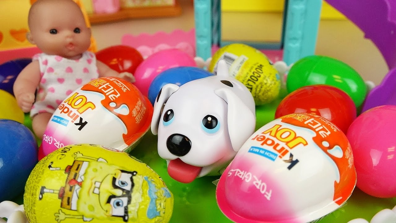 Puppy and baby doll Surprise eggs and Kinder joy toys play park