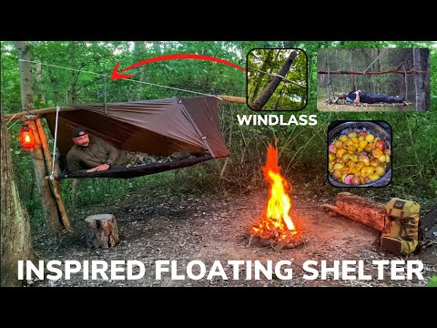 Solo Overnight Building a Mechanical Floating Shelter In The Woods and Kielbasa and Cheese Skillet