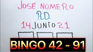 NÚMEROS DE LA SUERTE PARA HOY 14 DE JUNIO DE 2021 | BINGO 91