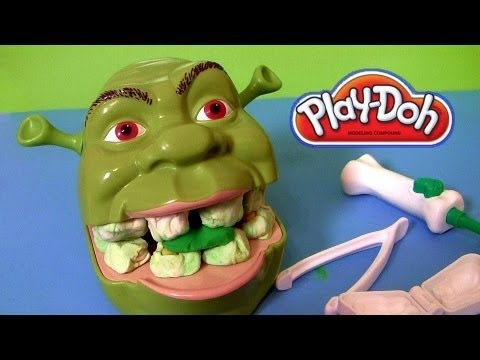Play Doh Shrek Rotten Root Canal Playset with Dentist Dr Drill N Fill Play Dough Review