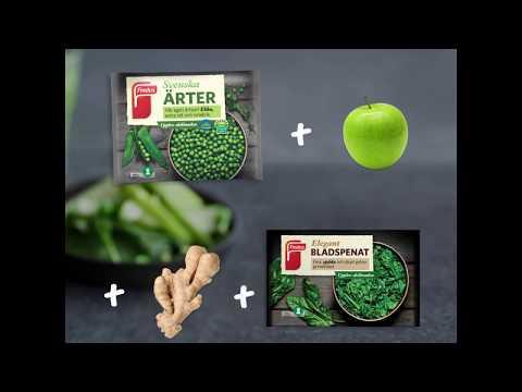 Grön smoothie med ärter, spenat och äpple